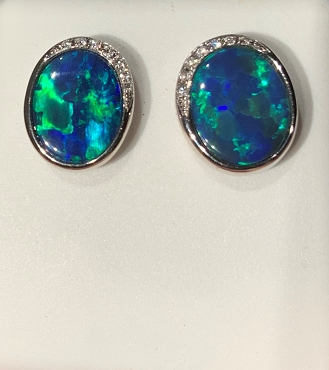 14K White Gold Opal and Diamonds Stud  Earrings