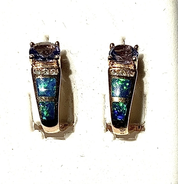 14k Opal Inlay Earrings